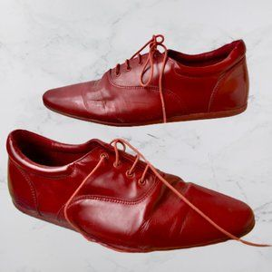 Schmoove Red Leather Oxford Cannibas Leaf Sole